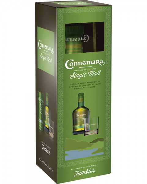 Connemara Peated Single Malt Irish Whiskey GP mit Tumbler 0,7l