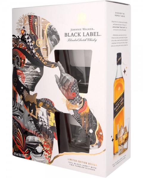 Johnnie Walker Black Label Geschenkset mit 2 Tumbler 0,7l